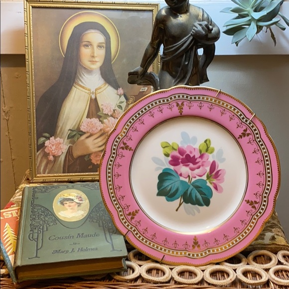 Vintage Pink Flower Plate